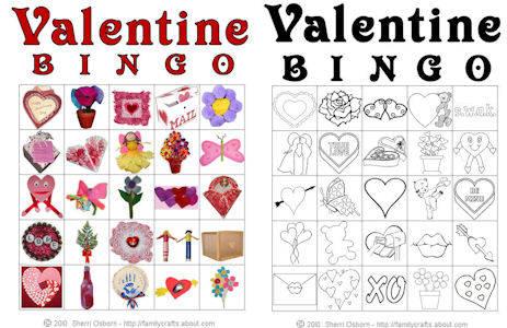 valentine bingo - Valentine Bingo Cards